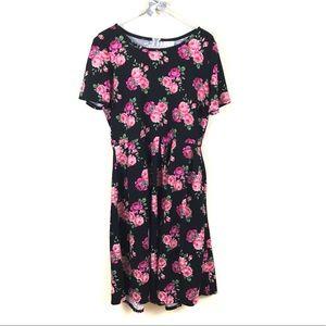 Lularoe Rose Floral Black Amelia Dress